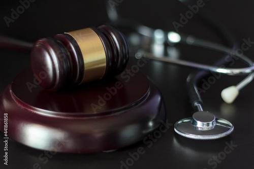 Judge's Gavel And Stethoscope Fototapeta