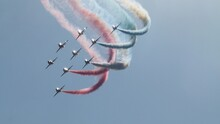Low Angle View Of Airshow Against Sky.  Red Arrows