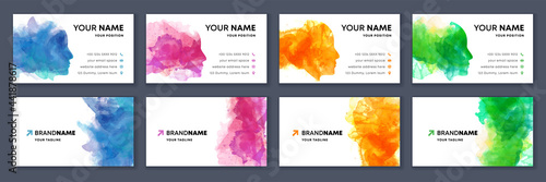 Fototapeta Big set of bright colorful business card template with vector watercolor head si