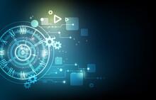 Geometric Technology Clock.engineer Cog Wheel Concept