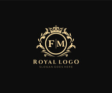 Initial FM Letter Luxurious Brand Logo Template, For Restaurant, Royalty, Boutique, Cafe, Hotel, Heraldic, Jewelry, Fashion And Other Vector Illustration.