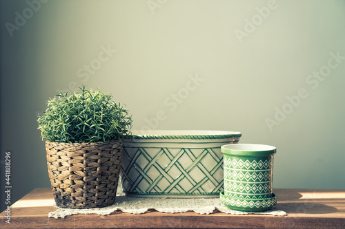 Fotografie, Obraz Close-up Of Potted Plant On Table Against Wall