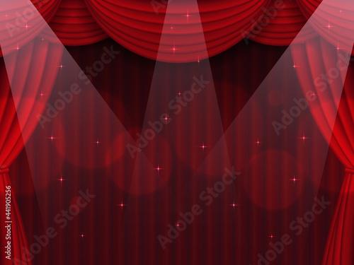 Canvas スポットライト照らされた赤色の幕の舞台