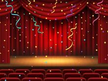 紙吹雪が舞う赤色の幕の舞台