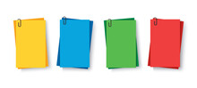 Notes Colored. Sticky Papers With Pin Clips Memo Vector