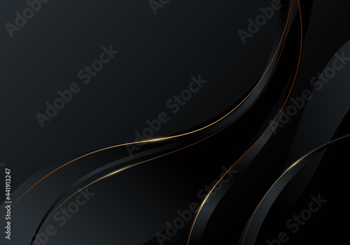 Foto Abstract gold wave line on black background luxury style