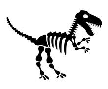 Tyrannosaurus Rex Icon In Silhouette Style. T Rex Dinosaur Skeleton. Prehistoric Creature Bones Isolated. Dangerous Ancient Predator, Tyrannosaurus Fossil Design Element. Museum Symbol Vector.