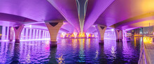 Neon Lighting Of An Artificial Waterfall From The Bridge Over The Dubai Canal Is A Popular Tourist Place Worth Visiting