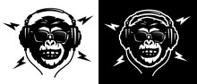 Monkey Head With Headphones And Sunglasses On A Light And Dark Background. Vector Illustration.