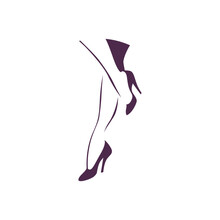 Beautiful Hand Drawn Woman Foot On High Heels Shoes Silhouette Isolated. Vector Flat Illustration. For Emblem, Tag, Logo, Banner Etc.