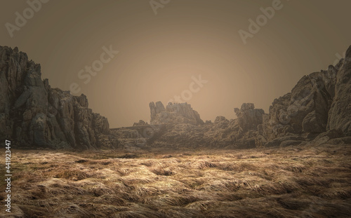 Fotografia photo editing background. views of dry meadows and cliffs