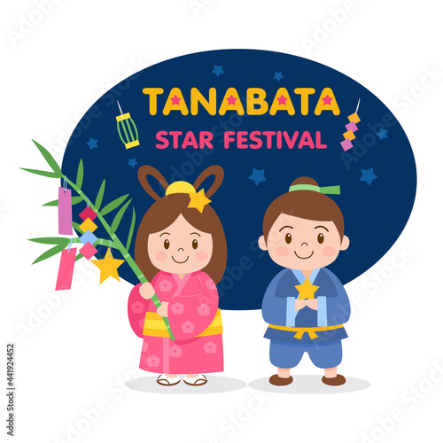 Canvas Tanabata or Star festival background with cowherd and weaver girl holding bamboo branches with hanging wishes
