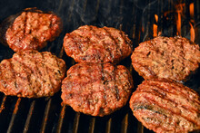 Beef Burger For Hamburger On Barbecue Grill