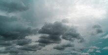 Panorama View Of Overcast Sky. Dramatic Gray Sky And Dark Clouds Before Rain In The Rainy Season. Cloudy And Moody Sky. Storm Sky. Cloudscape. Gloomy And Moody Background. Overcast Clouds.