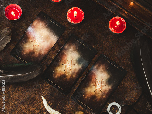 Obraz na plátně Tarot cards and esoteric concept