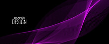 Dark Abstract Background With Flowing Colorful Wave Banner Background Pattern
