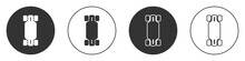 Black Longboard Or Skateboard Cruiser Icon Isolated On White Background. Extreme Sport. Sport Equipment. Circle Button. Vector
