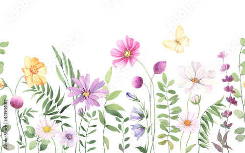 Tablou Canvas Wildflowers, green wild plants and flying butterfly, floral seamless pattern wit
