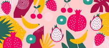 Exotic Fruit Poster. Summer Tropical Design With Fruit, Banana, Strawberry, Pomegranate, Pitaya, Cherry, Kiwi Colorful Mix. Healthy Diet, Vegan Food Background Vector Illustration