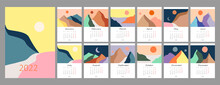 Calendar Template For 2022. Vertical Design With Abstract Natural Boho Landscapes. Editable Illustration Page Template A4, A3, Set Of 12 Months With Cover. Vector Mesh. Week Starts On Monday.