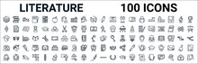 Outline Set Of Literature Line Icons. Linear Vector Icons Such As Books,watch,soccer,long John Silver,theater,romeo And Juliet,thesis,flute. Vector Illustration
