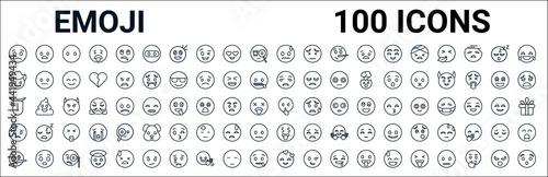 Carta da parati outline set of emoji line icons