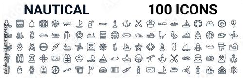 outline set of nautical line icons Tapéta, Fotótapéta