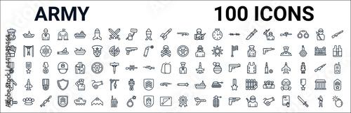 outline set of army line icons Fototapeta