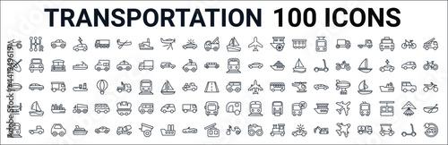 Murais de parede outline set of transportation line icons