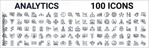 outline set of analytics line icons. linear vector icons such as binary data search,hierarchy,speech,charts,paper shder,analysis,variety,data analysis pie chart. vector illustration