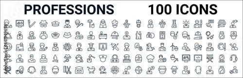 Fényképezés outline set of professions line icons