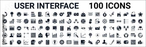 set of 100 glyph user interface web icons Fototapet