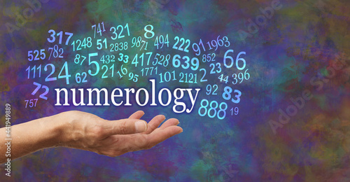 Stampa su Tela Numerology is in the palm of your hand  - female open palm with the word NUMEROL