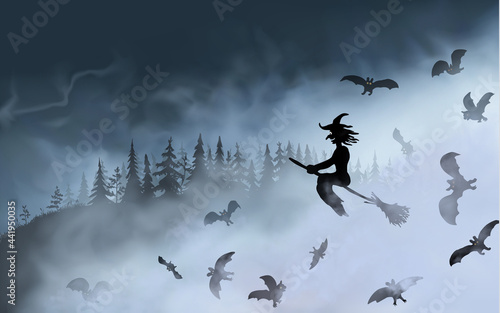 Fotografiet The witch sitting on the broom surrounded by bats flyes through fog clouds up above the dark forest