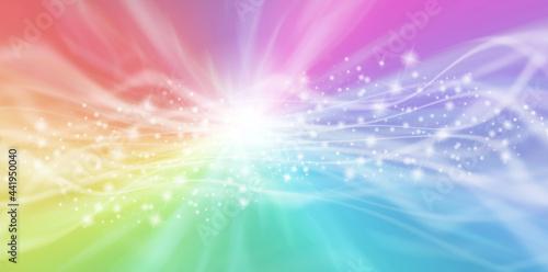 Colour healing energy flow sparkle banner - Radiating graduated rainbow colour b Fotobehang