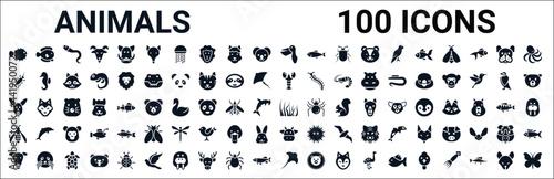 Fotografie, Obraz set of 100 glyph animals web icons