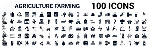 Photo set of 100 glyph agriculture farming web icons