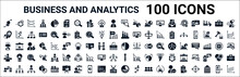 Set Of 100 Glyph Business And Analytics Web Icons. Filled Icons Such As Setting Flow Interface,percentage,revenue,service,graph Pie,conference,tie,circular Chart. Vector Illustration