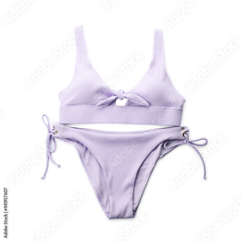 Obraz na plátně Stylish violet swimsuit isolated on white, top view