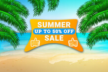 Summer Sale Horizontal Banner Background With Summer View Of The Beach. Sale 50% Off Discount. Template For Discount, Business, Advertisement, Promotion.Modern Bright Flyer.Stock Vector Illustration.