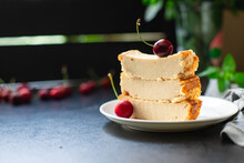 Cottage Cheese Casserole Cow Or Goat Milk Cake On The Table First Course Healthy Food Meal Snack Copy Space Food Background Rustic. Top View Keto Or Paleo Diet