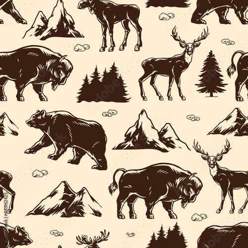 Canvas National park vintage seamless pattern