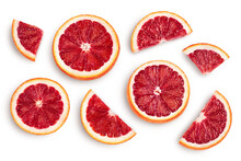 Blood Red Oranges Slices Isolated On White Background With Clipping Path. Top View. Flat Lay