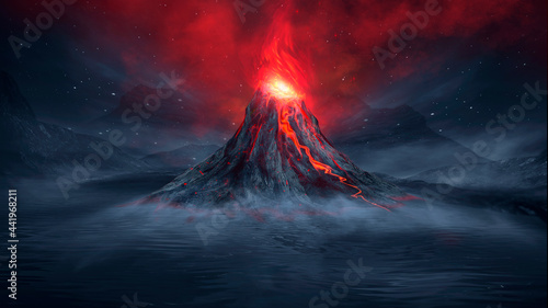 Leinwand Poster Night fantasy landscape with abstract mountains and island on the water, explosive volcano with burning lava, neon light