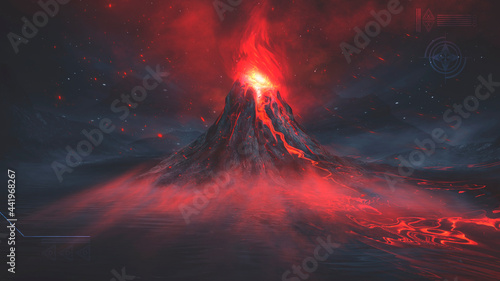 Photographie Night fantasy landscape with abstract mountains and island on the water, explosive volcano with burning lava, neon light