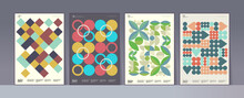 Abstract Geometric Patterns. A Set Of Vector Illustrations. Collection Of Four Framed Art Pictures. Ideal For Interior, Poster, Banner, Package Design, Labels.