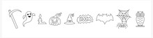 Doodle Halloween Set Icon Isolated On White. Hand Drawing Line Art. Sketch Vector Stock Illustration. EPS 10