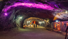 Khewra Salt Mine - February, 14, 2021: North Of Pind Dadan Khan, Jhelum District, Pakistan. Second Largest In The World, Famous For Its Production Of Pink Salt And Is A Major Tourist Attraction.