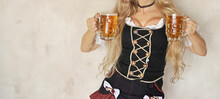 Oktoberfest Young Woman With Glass Of Beer. Holiday Of Oktoberfest 2021.