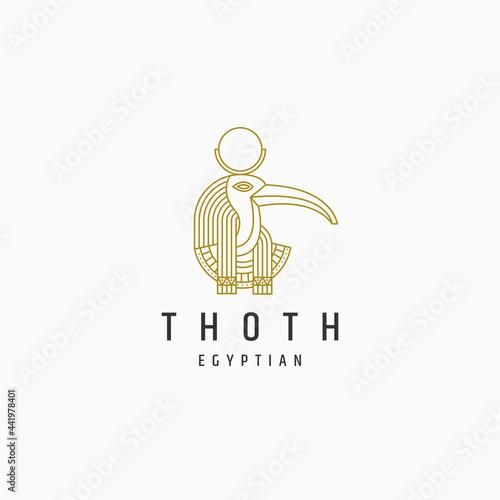 Thoth egyptian goddes line style logo icon design template Fototapet